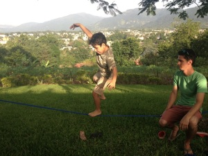 Even a little bit of teaching the kids slack-lining