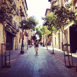 Wandering the Calle Huertas early in the day.
