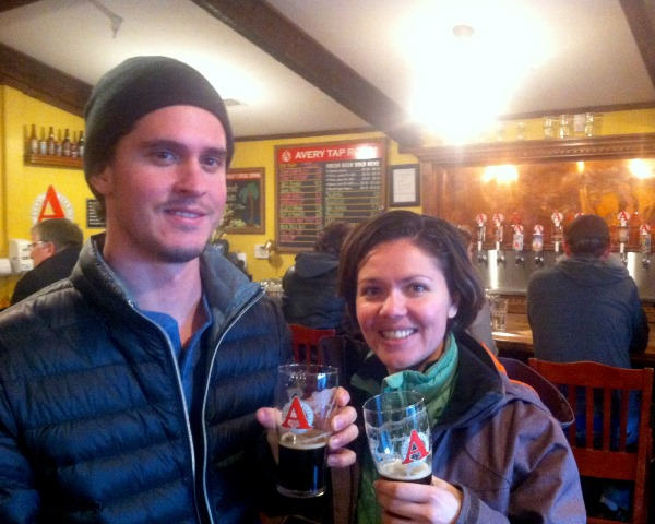 Enjoying fresh beers at Avery, post-hike!